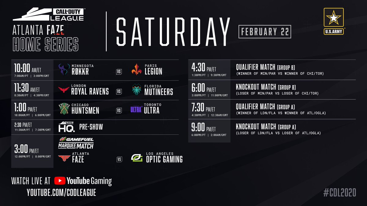 Opening day at the @ATLFaZe Home Series: Tune in to see which pro team takes the throne in Atlanta. youtube.com/watch?v=EmgzU9… #CDL2020
