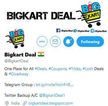 #GiveawayAlert 🚨 Simple rules :  1. Retweet 🔄 this tweet and Tag your friends 👫  2. Must be a FOLLOWER of @BigkartDeal & @BigkartDeal1  We'll pick 3 random winners & Give Rs.100 each.  You have time till 27th Feb 2020  #GiveAway  #ContestAlert #AmazonGiftCard