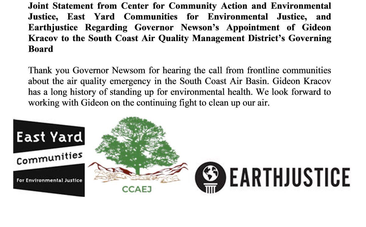 Thank you @GavinNewsom for listening to our communities and appointing someone who is going to take this air quality crisis seriously. We need the state legislature to follow in these steps! Today we celebrate a step forward to a clearer future! Much love to everyone involved pic.twitter.com/wONLjWUV0u