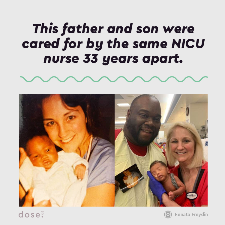 New parents Renata Freydin & David Caldwell were surprised to discover their son's NICU nurse Lissa McGowan also took care of David when he was born in the same hospital 33 years prior.  (via @ScaryMommy)