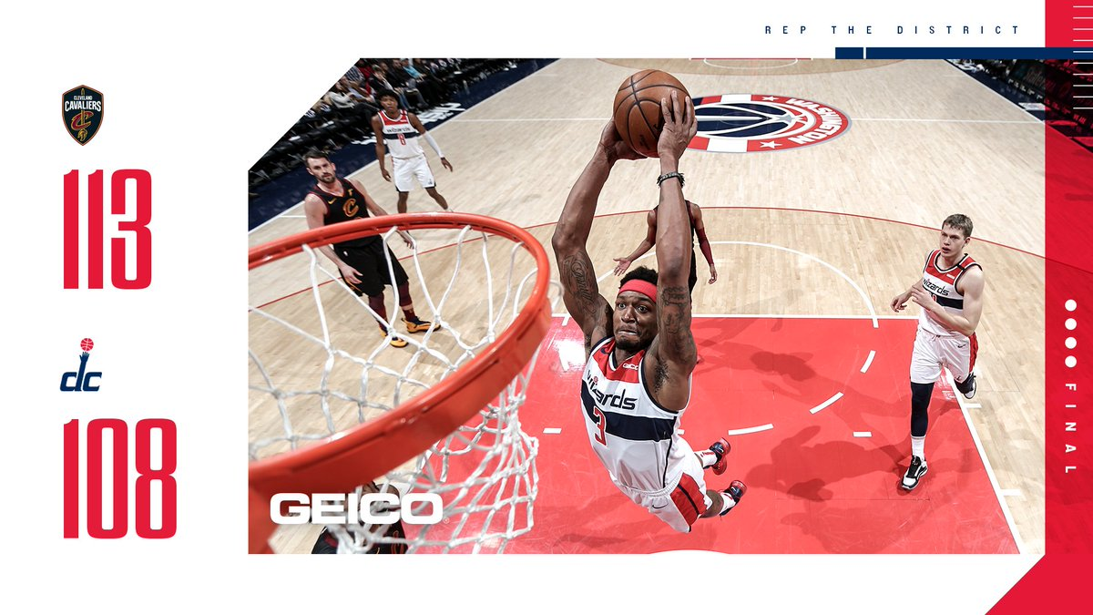 Final in D.C.  Beal 26p Hachimura 17p-7r Brown Jr. 11p-4r Bertans 10p-8r  #WizCavs | @GEICO