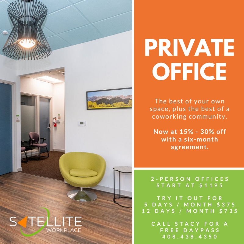 Private Offices now 15 - 30% off for your first six months. Take a test drive by the day or by the week. Come by for a tour or book online. #coworking #losgatos #privateoffice http://ow.ly/4niv50xvmoQpic.twitter.com/AC7qXXA9N2