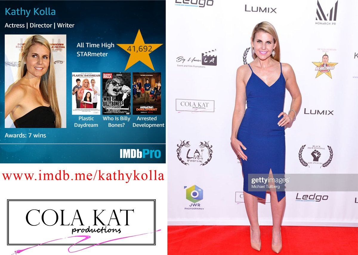 @KathyKolla  Kathy Kolla is an award-winning director, actress and screenwriter based in Los Angeles. She has had roles on many television series and has won multiple awards for acting and directing. http://www.imdb.me/kathykolla pic.twitter.com/MGorMuOLbU