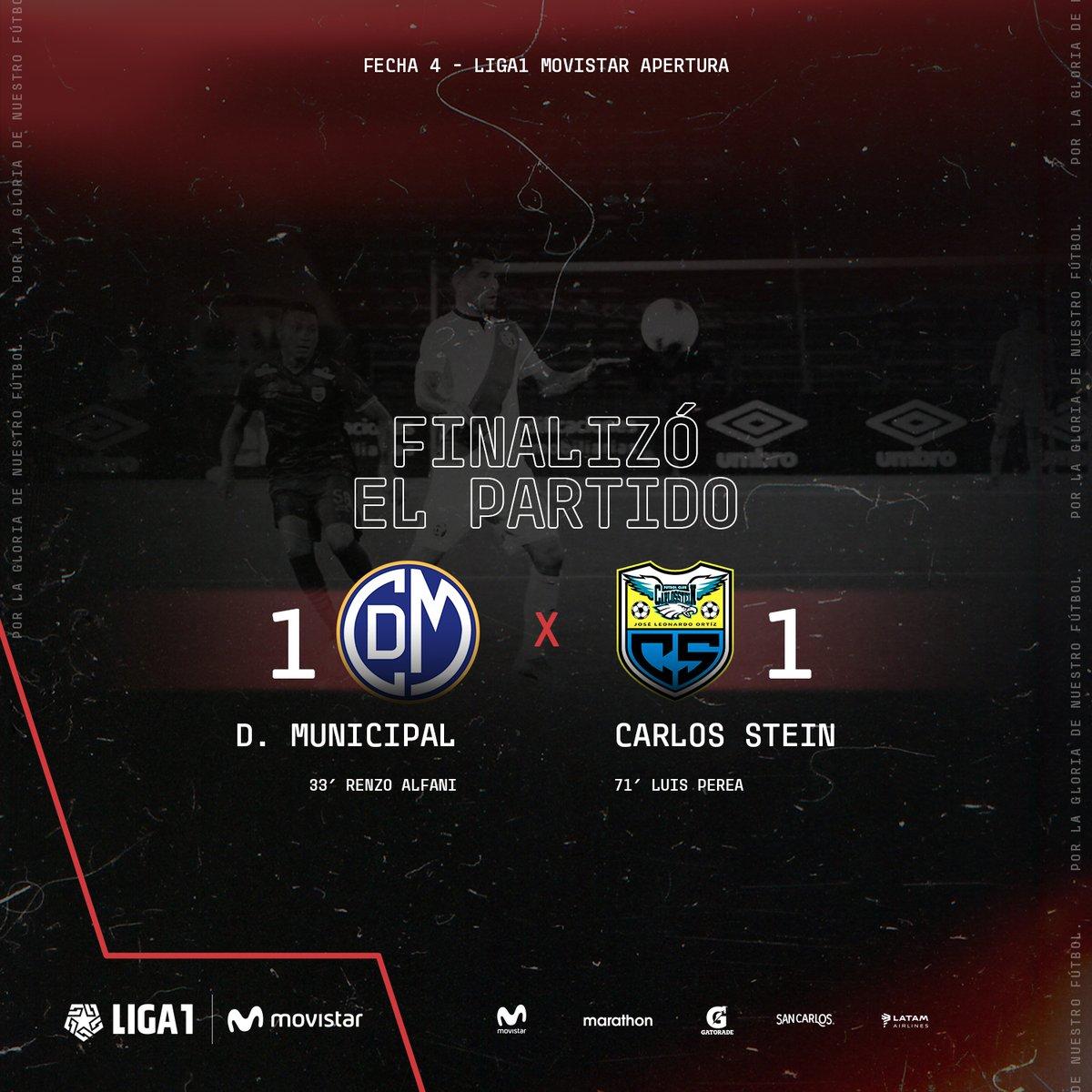 #ENVIVO ¡Final del partido en San Marcos! @CCDMunicipal y #CarlosStein igualaron 1-1 por la cuarta fecha de la #Liga1Movistar Apertura. pic.twitter.com/Au2Aiodzis