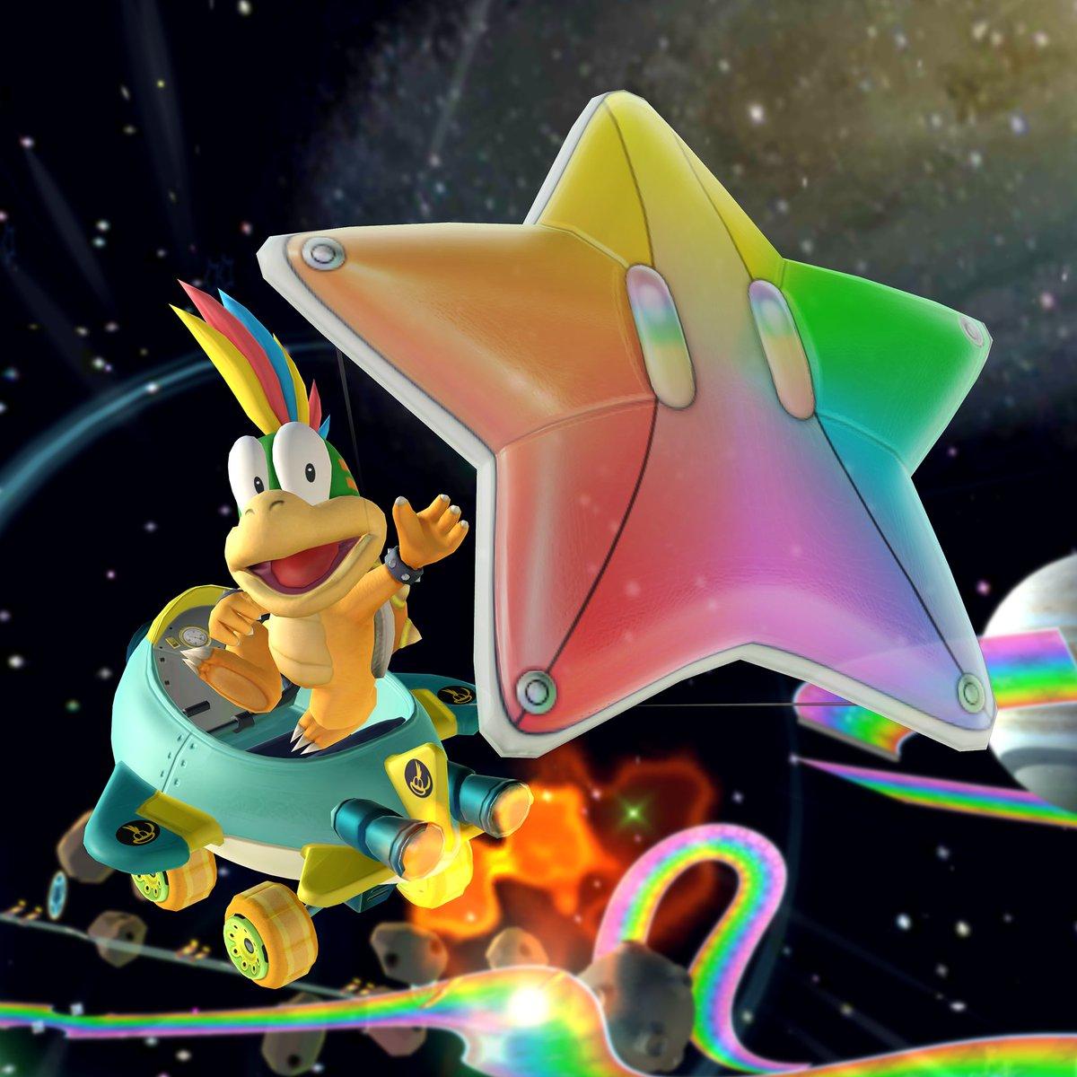 test ツイッターメディア - 夜空を照らす虹色の星 新グライダー「レインボーシューター」が登場!  ひとたび飛び出せば、夜空を切り裂く七色の流星に!  #マリオカートツアー https://t.co/HrmsW5nrdk