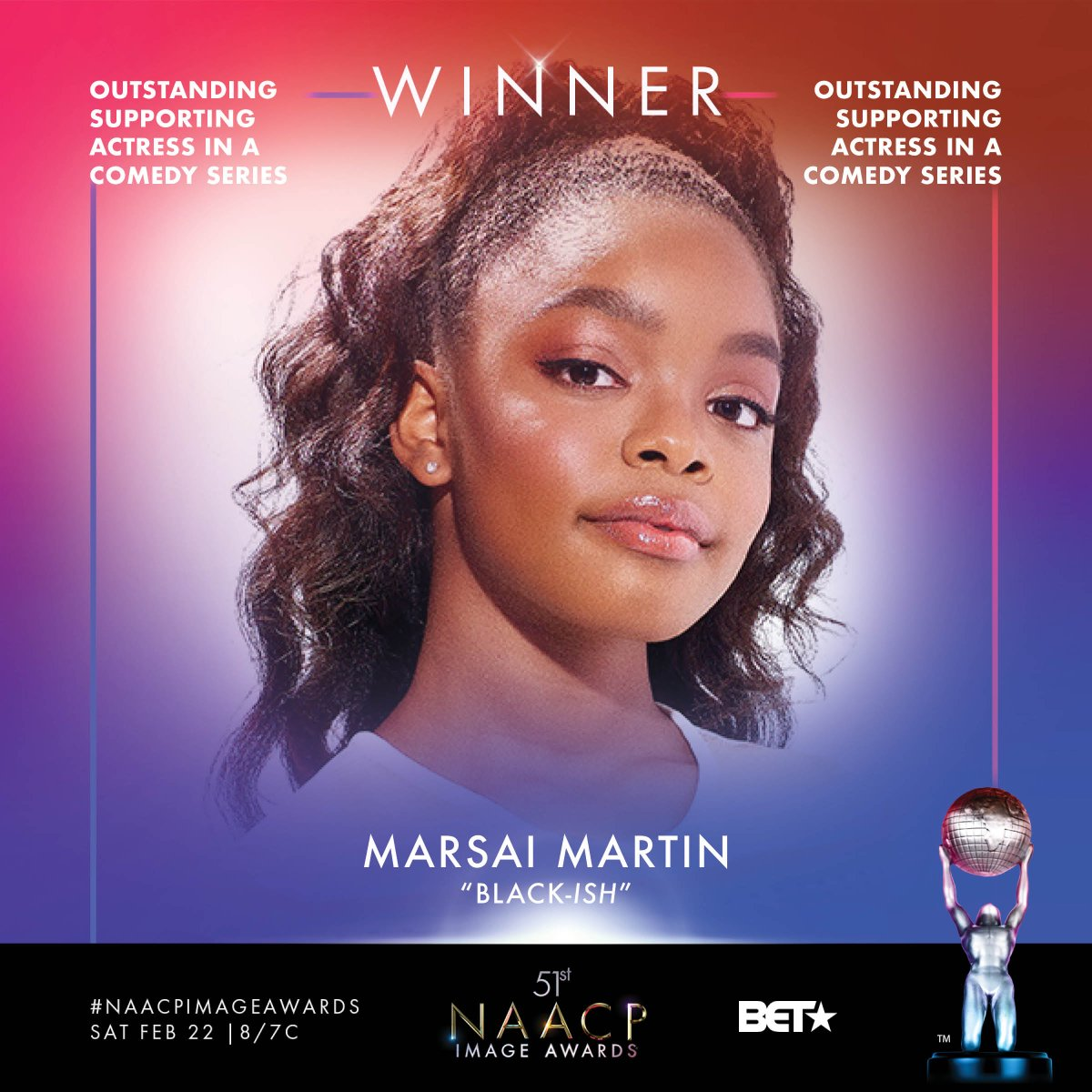 Congrats Outstanding Supporting Actress in a Comedy Series winner - @marsaimartin  #NAACPImageAwards