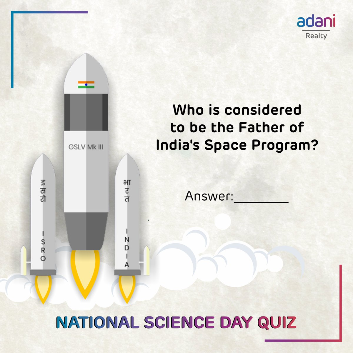 Are you ready to participate in the National Science Day Quiz? Follow @adanirealty & comment the answer below to stand a chance to win amazing gifts!*  Hint: He has been honoured with the Padma Bhushan in 1966 and the Padma Vibhushan in 1972.  #NationalScienceDay *T&C Apply
