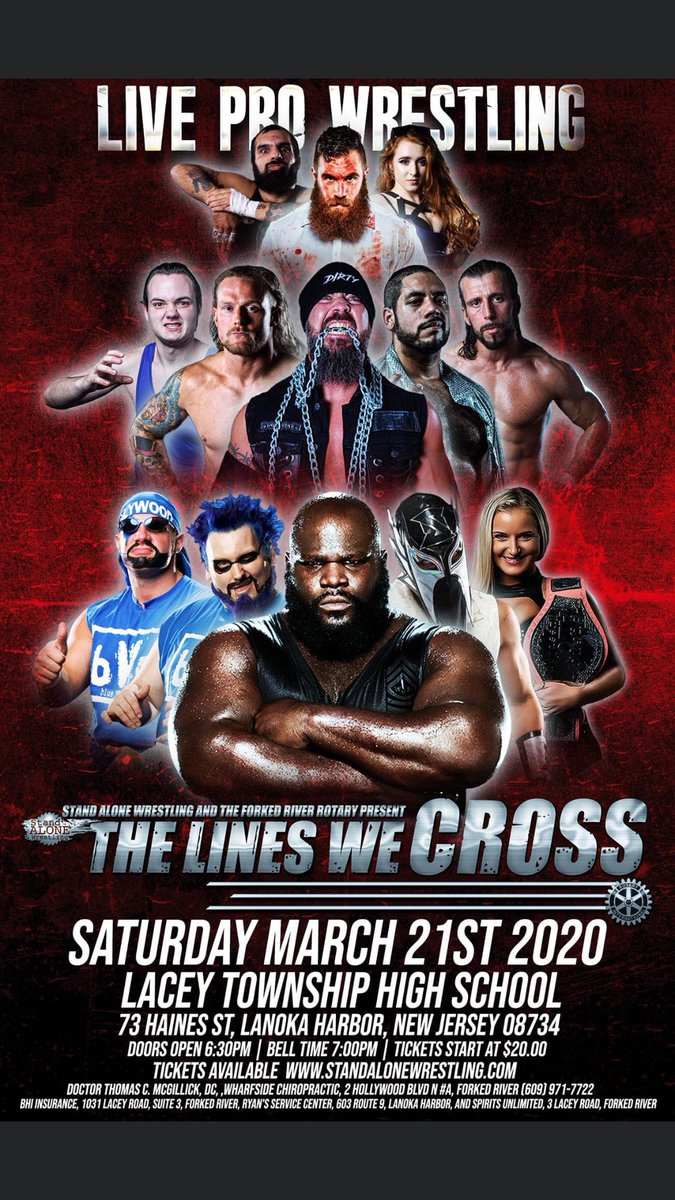 March 21st Live at Lacey High School@sawprowrestling returns to the county of ocean for a great night of #ProWrestling for Tickets https://www.eventbrite.com/e/stand-alone-wrestlingthe-forked-river-rotary-presentthe-lines-we-cross-tickets-91033795533… #wwe #tna #nxt #mlw #roh #impact #aew #sports #fitness #DilfLife #gcw #njpw #pwg #wrestling #StandAlone #Quad #RotaryClubpic.twitter.com/zflwgJgDp3