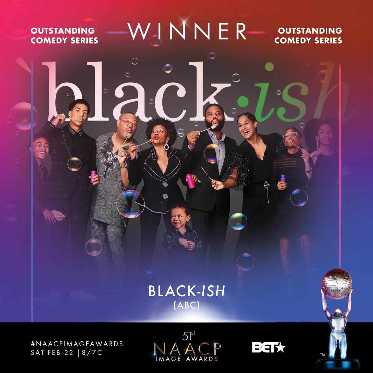 Congrats Outstanding Comedy Series winner - @blackishabc  #NAACPImageAwards