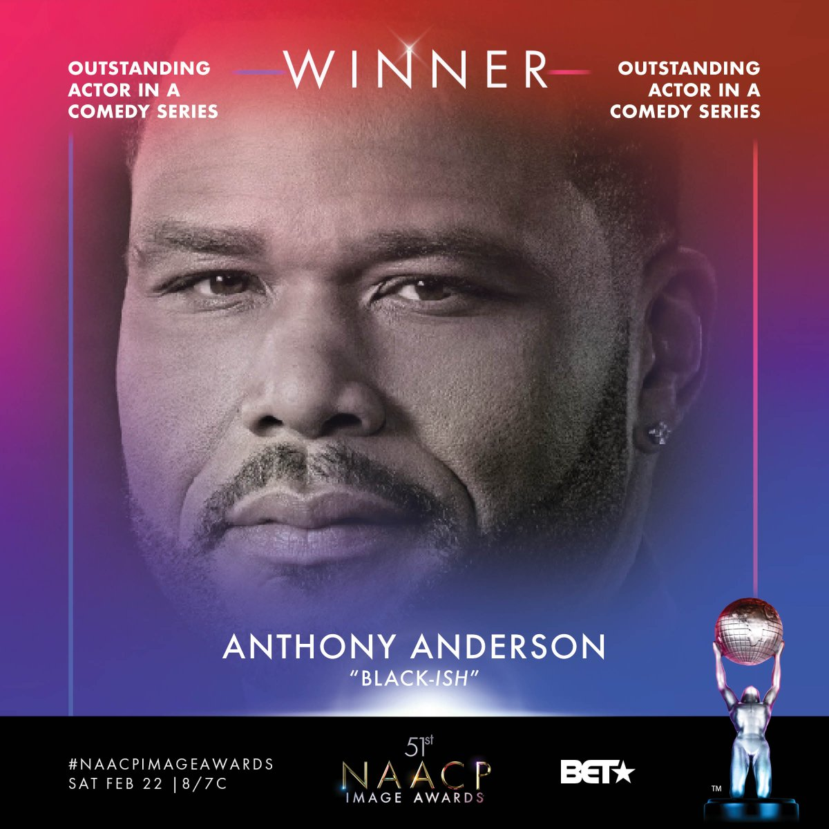 Congrats Outstanding Actor in a Comedy Series winner - @anthonyanderson  #NAACPImageAwards