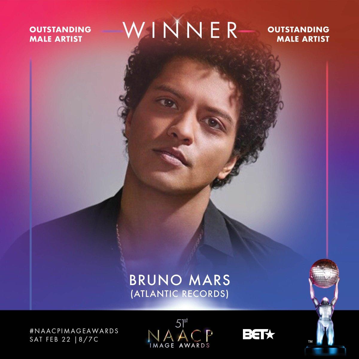 Congrats Outstanding Male Artist winner - @brunomars #NAACPImageAwards https://t.co/9KtH37tiMf
