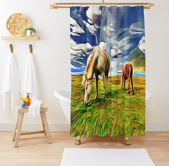 #Horses in the #Pasture #ShowerCurtain - Customize your #Bathroom Decor with Unique #ShowerCurtains, This ShowerCurtain Will Make The #Bathroom come alive with Vibrant Colors, - Shower Curtain Size is 71 inches By 74 inches http://bit.ly/HorsesCurtain pic.twitter.com/8bvgXEhMJW
