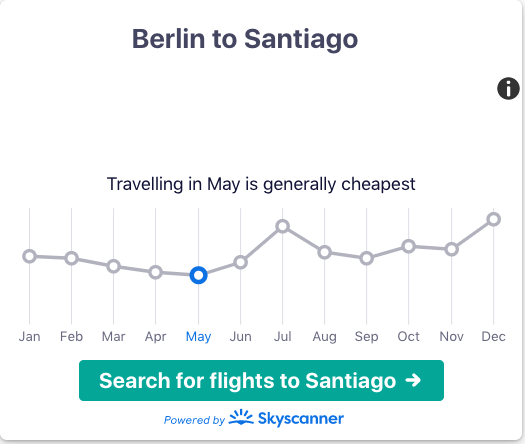 ✈️✈️✈️ #Berlin to #Santiago: Travelling in May is generally cheapest. Compare flight prices on  #cheapflights