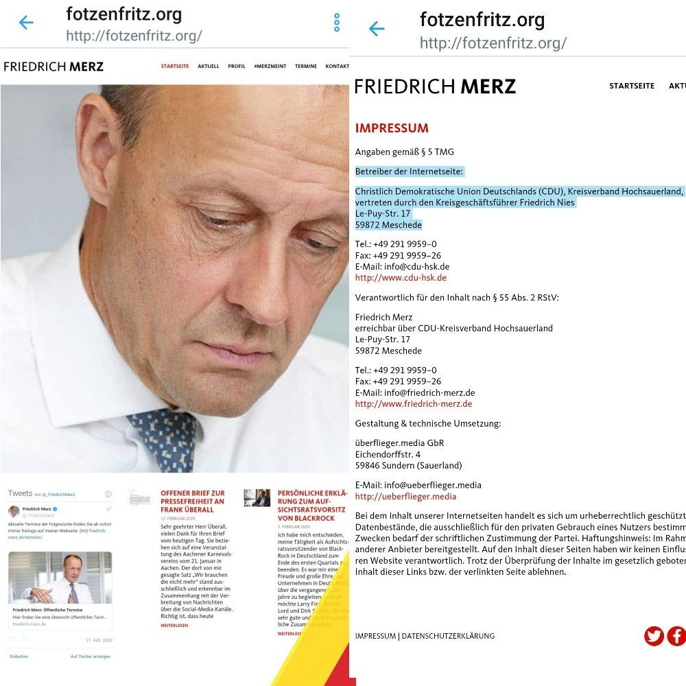 Ist das deren Ernst? Für den eigenen Machterhalt ist der CDU jedes Mittel recht. Die CDU Hochsauerland will mit neuer Homepage unter dem Namen #Fotzenfritz (http://fitzenfritz.org) für @_FriedrichMerz als Bundeskanzlerkandidaten und Parteivorsitzenden werben. #NieMehrCDUpic.twitter.com/WawowAlMSg
