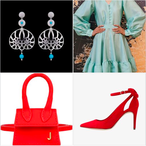 A #Carnival colors inspired #weekendlook with #biscaygreen new #SS20 #colortrend and #red & #turquoise #accessories. Add Nautia Pendants #earrings #jewels #jewellery #jewelry #silver #shelldesign #Konkstyle #outfitoftheday #fashion #style #carnivalmood #carnivalstyle