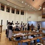 Image for the Tweet beginning: 本日はコンサートの会場である岡南教会で練習しています!