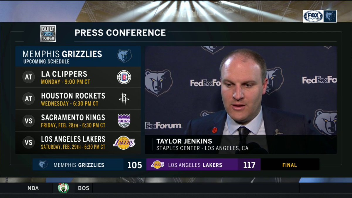 """""""Overall just not one of those games where we didn't come ready to play and we got to learn from this and learn from it quick""""  Head Coach Taylor Jenkins addressing the media after the Grizzlies loss to the Lakers  @memgrizz   #GrindCity"""