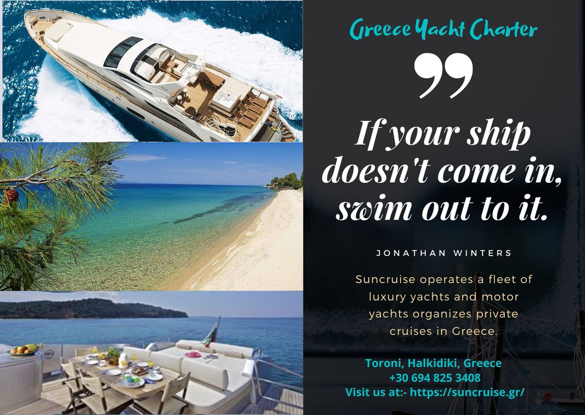 In summer enjoy Greece #yachtcharter to make it a more incredible way of celebrating vacation. Book now for perfect approach https://bit.ly/2PfTGos #rentayacht #charter #luxuryyacht #cruise #saniresort #sailing #diving #bacheloreventspic.twitter.com/Zzcb4XFz37