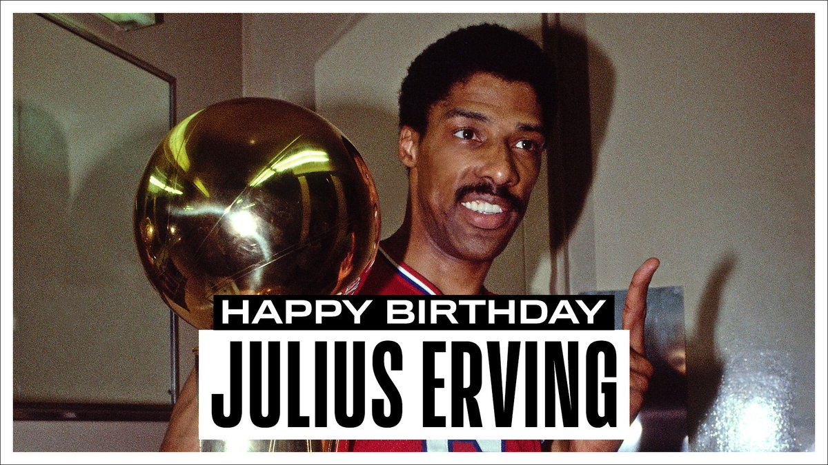 """Join us in wishing a Happy 70th Birthday to 16x All-Star, '80-81 NBA MVP, 2x ABA champion, '82-83 NBA champion, & @Hoophall inductee... """"Dr. J"""", Julius Erving! #NBABDAY"""