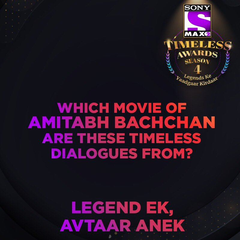 The 'Shahenshah' of Hindi Cinema continues to rule our hearts with these dialogues. Vote for the yaadgaar kirdaar of @SrBachchan by logging on to https://max2timelessawards.sonyliv.com Voting lines for the 1st category are open till 27th Feb. Vote & win* an iPhone 11 Pro.  #MAX2TimelessAwardsS4