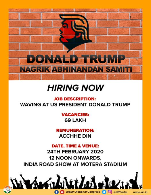 Congress Ad on Trump Visit: Wave at Trump. Get achhe din. Hiring 69 lac