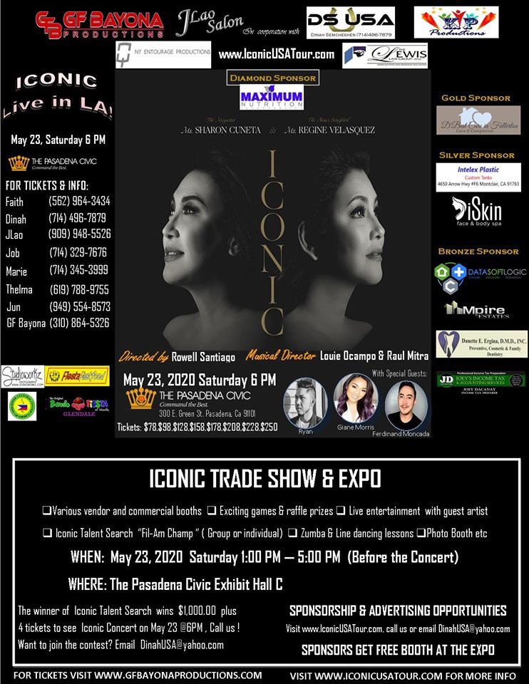Sponsorship & Advertising Available!  PM me or call (714)496-7879. Sponsor get a free booth at our Iconic Tradeshow & Expo on May 23 1:00 PM - 5:00 PM Free ticket/s at the sponsors seats  #sharoncuneta  #reginevelasquezalcasid  #IconicUSAtour  #megastar  #songbird  #reginevalcasid