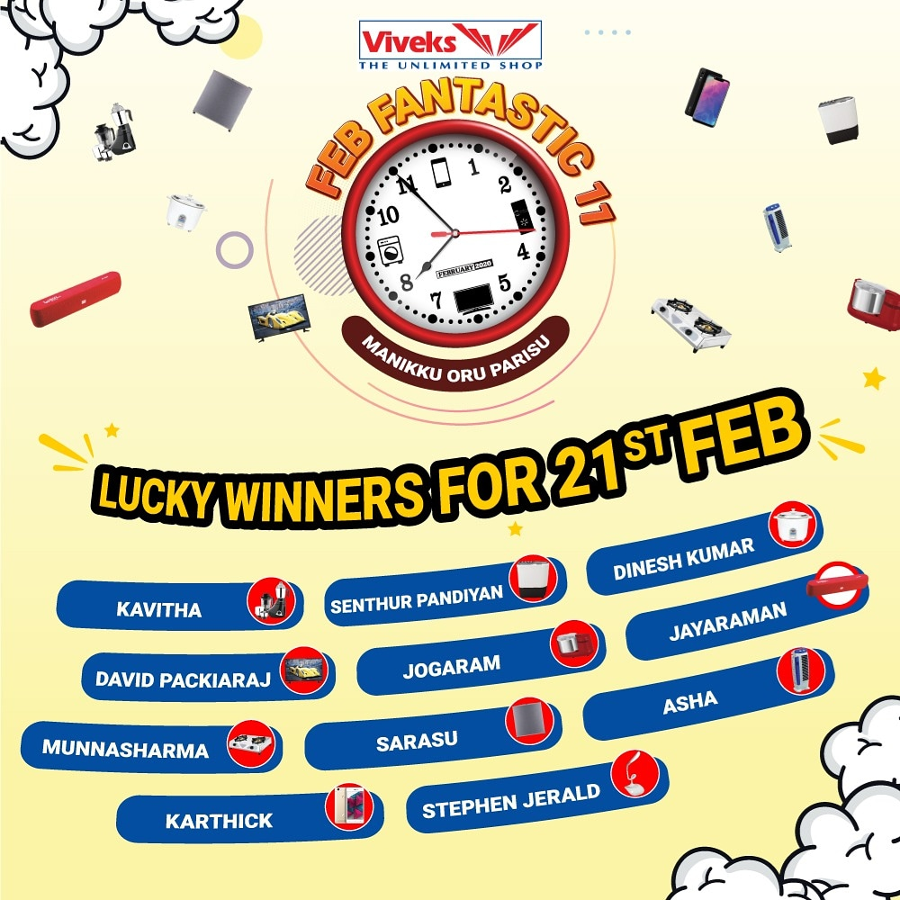 Here are the lucky winners of February 21st who won some exciting prizes during the Viveks Feb Fantastic 11. மணிக்கு ஒரு பரிசு தினம் தினமும்! February 28 வரை! #NammaViveks #Febfantastic11 #11winners #everyday #Prizes #winners #Shopnow #Viveks #sale #offer #Electronics #Tamilnadu