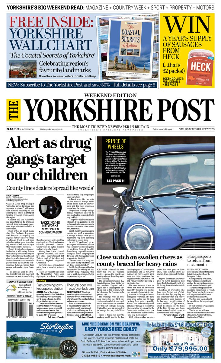 This weekend's @yorkshirepost newspaper: FREE 'The Coastal Secrets of Yorkshire' souvenir wallchart WIN a year's supply of @HeckFood sausages (that's 52 packs!) SAVE 50% when you subscribe to The Yorkshire Post PLUS Magazine, Country Week, Sports Weekend and Property Post pic.twitter.com/RIlCVM3OU5