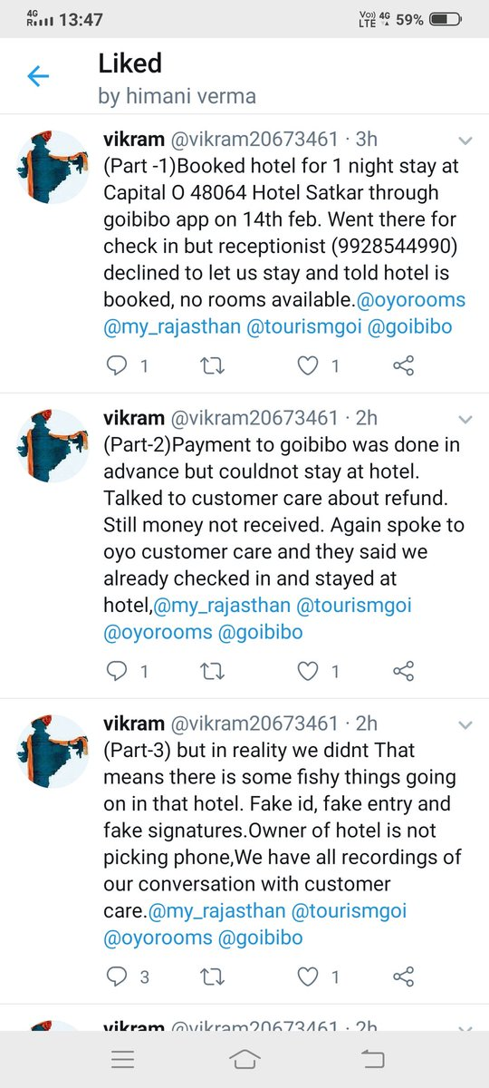 After below complaint I have Received call from Oyo customer care saying it is not our concern as booking done by goibibo so contact them, ridiculous service, property belongs to Oyo rooms still this response,avoid Oyo rooms booking pic.twitter.com/goRfE21Rz9