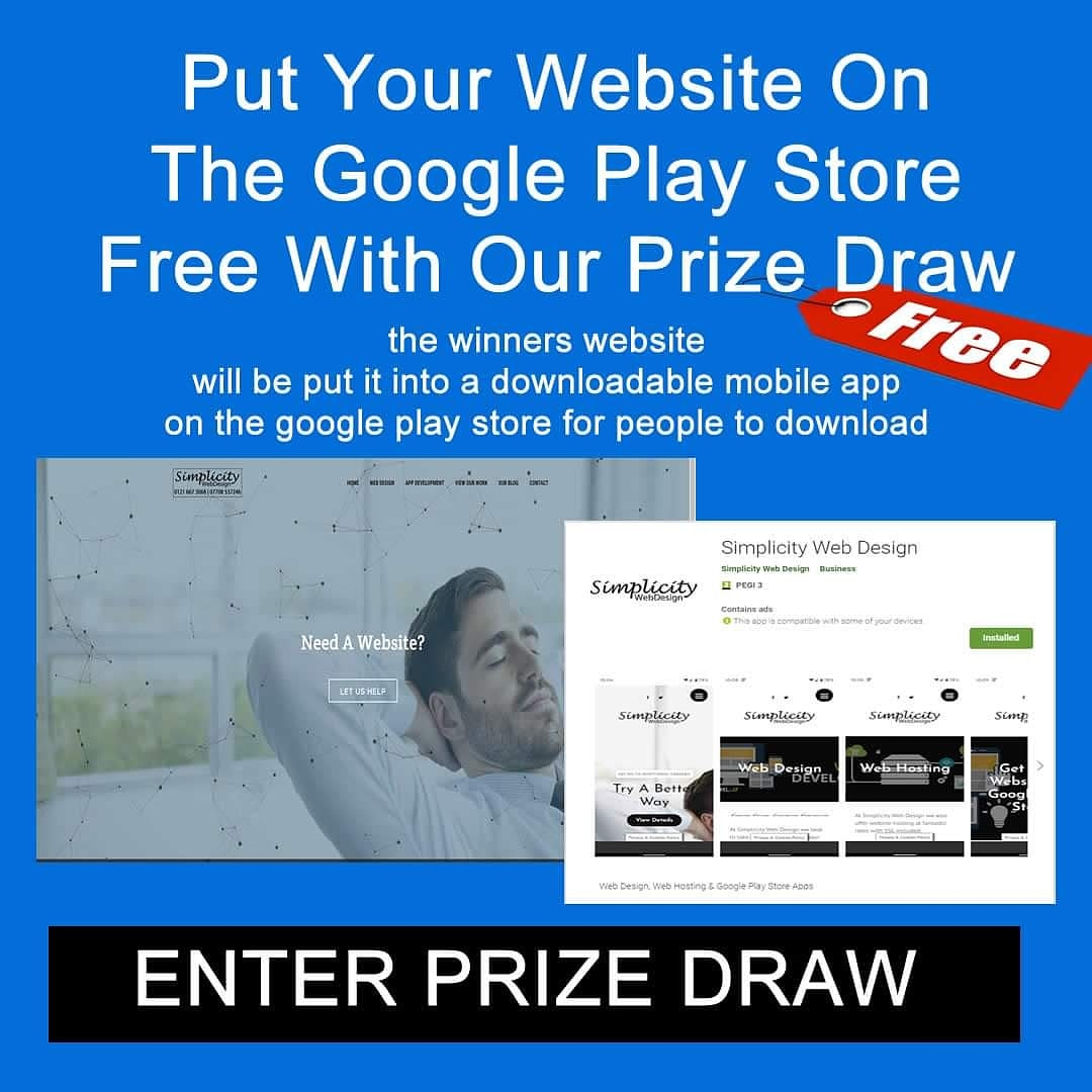 Don't forget our giveaway. Spread the word !! Win a free Android App on the Google Play Store for your business. Look here https://simplicitywebdesign.co.uk/giveaway/win-a-free-app-for-your-business-on-the-google-play-store-2/… #business #smallbusiness #businessman #businesswoman #free #prizedrawpic.twitter.com/4yQZQ4dyDT