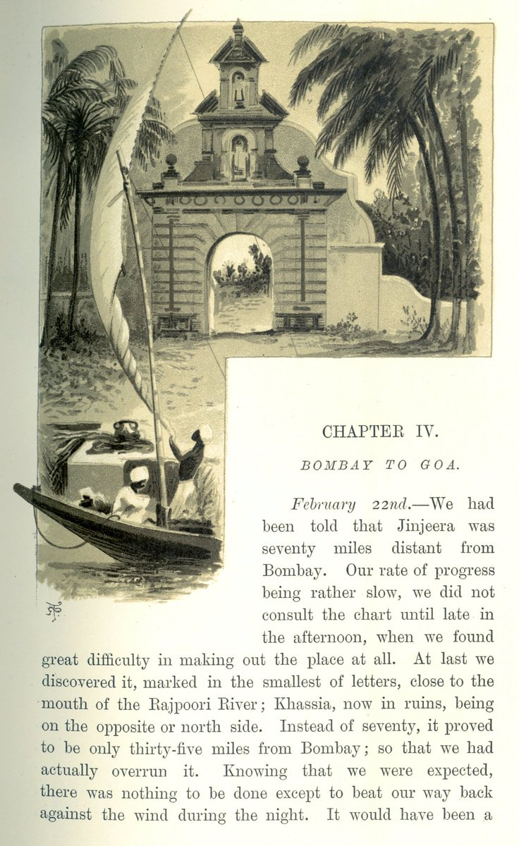 """Sunbeam, Bombay to Goa #India 22.2.1887. """"About 9.30AM the Nawab's brother came on board & soon afterwards we proceeded to land. After rowing more than half way round a curious island-fort, we arrived at the gateway...where we were met by the Nawab.."""" #Brassey #History #1880s"""