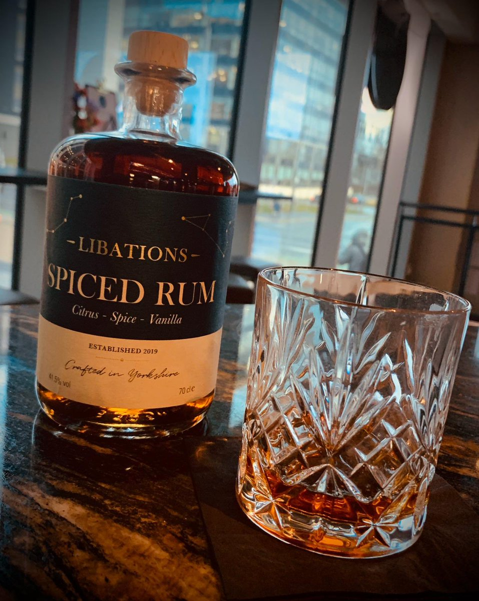 Added to our extensive collection-  Libations- spiced rum. Crafted in #Yorkshire   Served right here at Mad Frans, on the rocks or with a dash? Only you can decide that!   Open from 12 today pop pickers.  Enjoy. #rum #localsupplier pic.twitter.com/bLHQAQx6CT