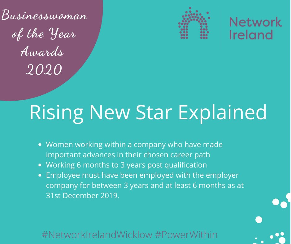 Businesswoman of the Year Awards   Rising New Star Explained   Don't miss out on this excellent opportunity to promote your business. The closing date for all entries is 13th March 2020.  Enter Now: https://networkireland.ie/award-application-rising-star/…  #PowerWithin #BackedbyAIBpic.twitter.com/odrXnhU0zJ
