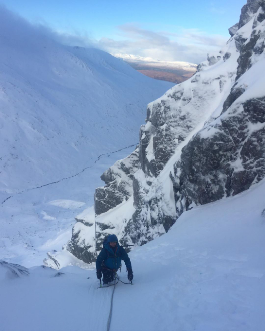Another one from @cam.bevan, have you managed to get out climbing yet this winter??  ...  Day two: Aonoch Mor west face under a blue sky! Nice steeper section of ice in there as well.  #climbing #scotland #winter #iceclimbing #mixedclimbing