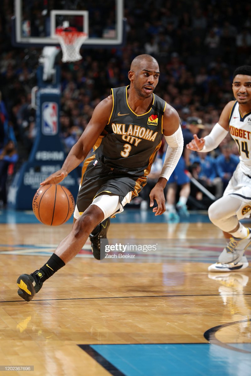 @dallasmavs @cavs @Raptors @Pacers @celtics Chris Paul scored 29 PTS en route to a homecourt win against the visiting @Nuggets!  #MileHighBasketball 101 #ThunderUp 113  Steven Adams: 19 PTS, 17 REB, 4 STL Danilo Gallinari: 15 PTS  #NBA