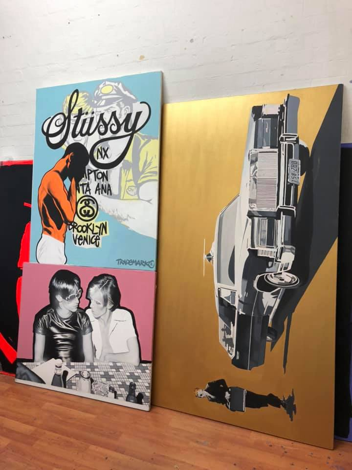 Saturday studio shot ... my 1990s Stussy painting is off to a client today. SOLD #stussy #art #contemporaryart #painting