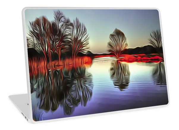 Premium High quality #LaptopSkins - Quiet #Sunset #Pond #Art for your Macbook Air, Macbook Pro, Macbook Pro Retina, and PC laptops. These 1 mm thick skins/stickers give personality to your device while also providing scratch resistance