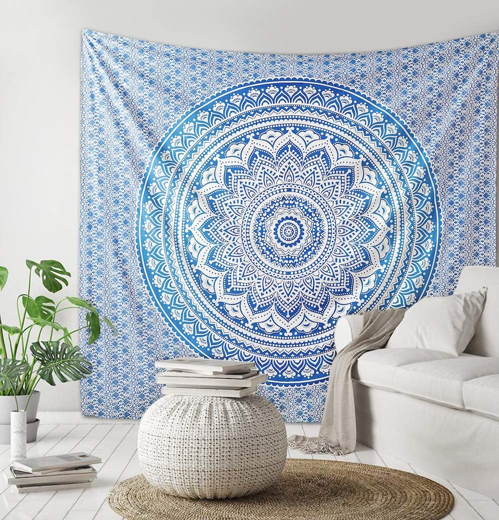 Excited to share the latest addition to my #etsy shop: Indian ombre mandala tapestry Wall Hanging, Queen, Twin Size , Cotton Bedspread, Hippie Bohemian Decor, Psychedelic Tapestry  #housewares #homedecor #blue #beading #bedroom #bohemianeclectic