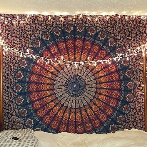Excited to share the latest addition to my #etsy shop: Indian Hippie Bohemian Psychedelic Peacock Mandala Wall Hanging Bedding Tapestry (Golden Blue, Queen(84x90Inches)(215x230Cms))  #housewares #homedecor #blue #birthday #christmas #sewing #oran