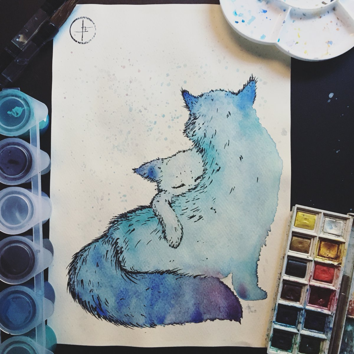 Happy Caturday! (2018) . #cat #cats #catsofinstagram #caturday #catdrawing #watercolor #watercolours #watercolorpainting #blue #bluetones #throwback