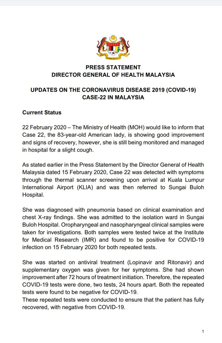 Kkmalaysia On Twitter Current Status Covid 19 Case 22 In Malaysia The 83 Year Old American Lady Is Showing Good Improvement And Signs Of Recovery However She Is Still Being Monitored In Hospital For A