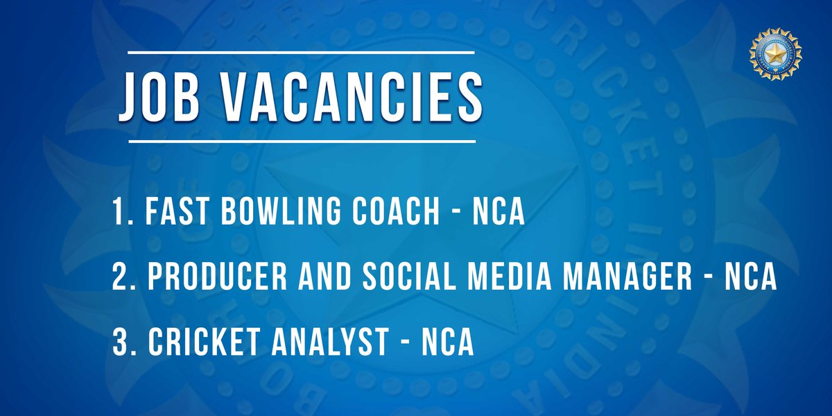 We are hiring! For more details on the vacancies, please visit 👉👉 bcci.tv/about/jobs