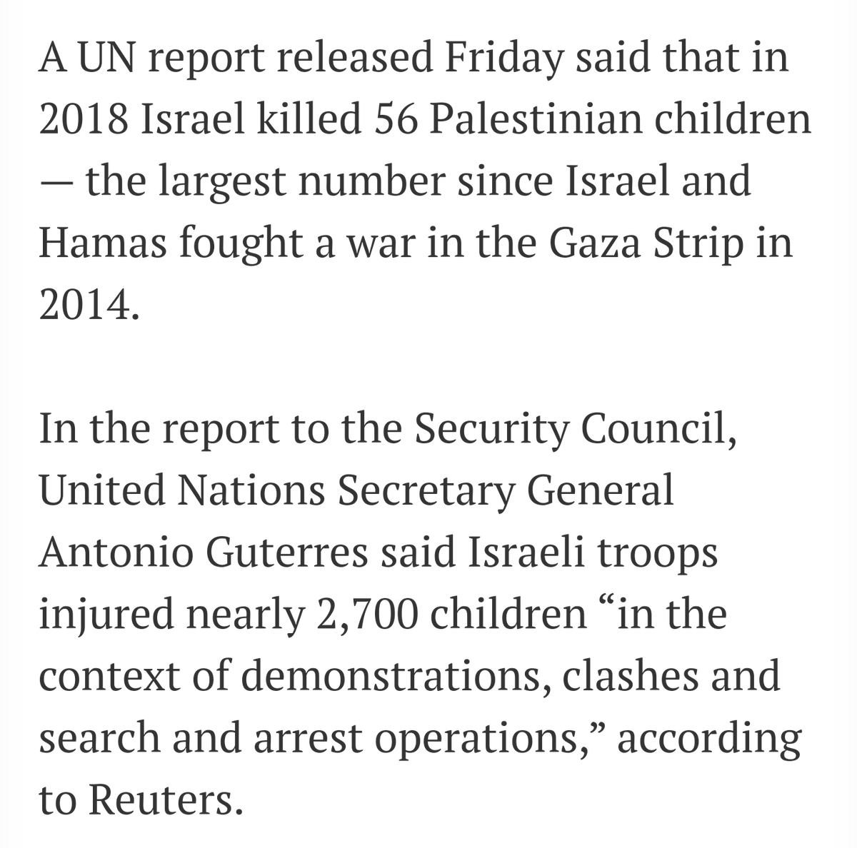 IDF targets kids deliberately. Stop lying. Shooting little kids is something Israel is proud of. Israel doesn't regret shit otherwise they wouldn't continue doing it for 75 years. IDF uses kids as human shields. You can't keep lie about that anymore.   https://twitter.com/ErikGustafsson_/status/1229522964732928000?s=09…pic.twitter.com/jbTMIWUZrX