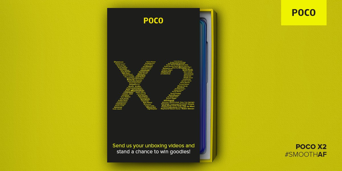The #POCOX2 was unboxed by bloggers in so many styles. What's your way of doing it? Show us your style & get a chance to win goodies.  PRO tip: For ideas, search 'POCO X2 unboxing' here 👉http://bit.ly/Searchhere   On every 2000 RTs one lucky winner to win a gift voucher. #SmoothAF