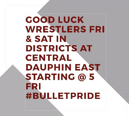 Good luck to our wrestlers in Districts today. BulletPride