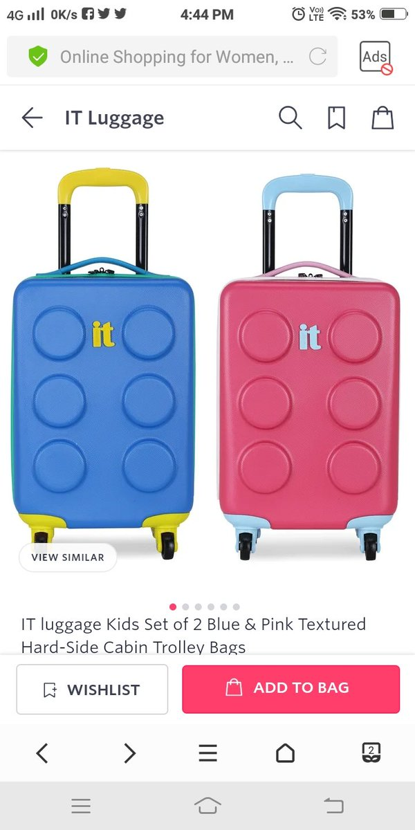My loving daughter always wanted to have her own Trolley Bags, whenever she goes to any vacation. I wish I  could afford it with my Middle Class Salary.   IT luggage Kids Set of 2 Blue & Pink Textured Hard-Side Cabin Trolley Bags Product Code : 11289230  #MyntraTurns13 @myntrapic.twitter.com/iveYOYdMJY
