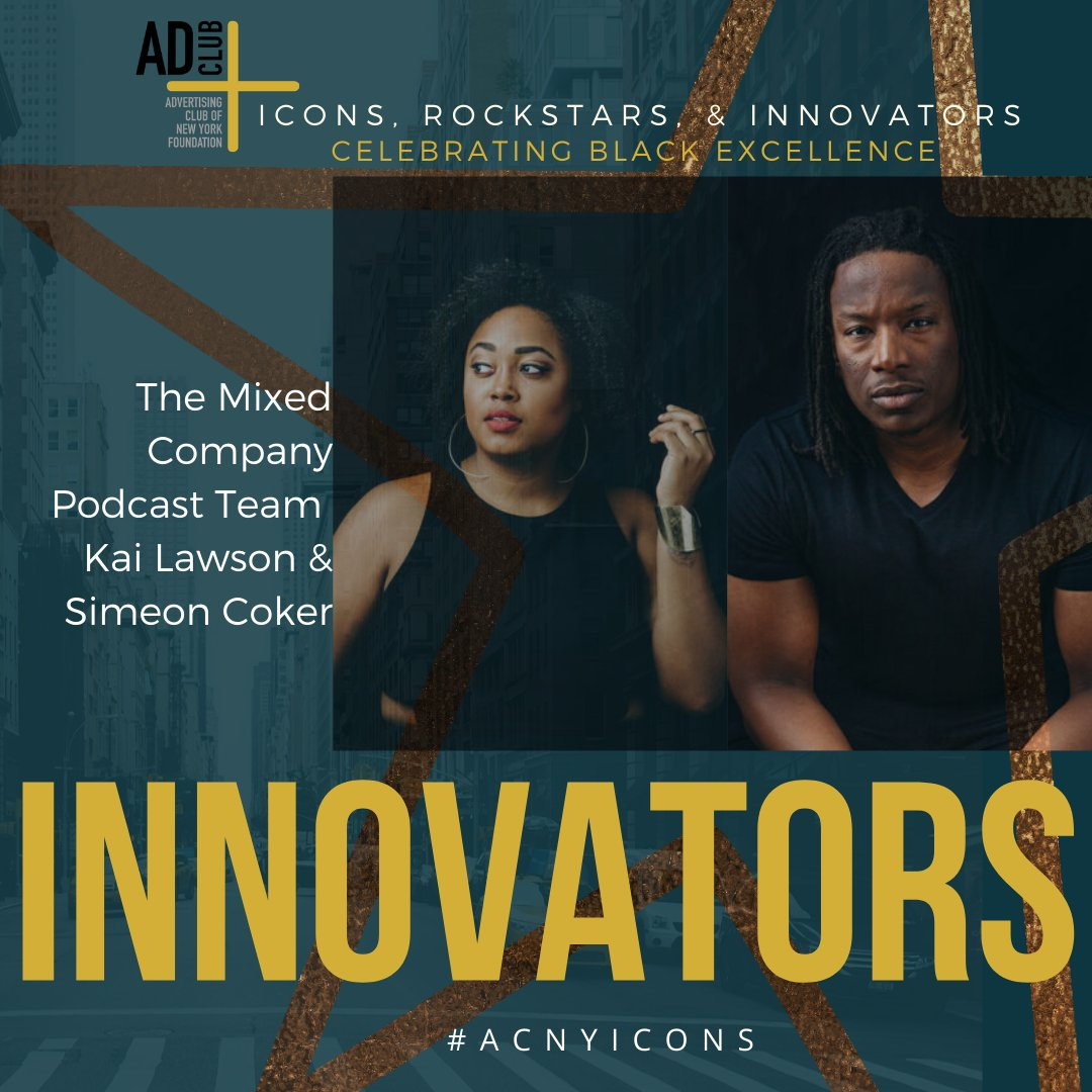 "The ACNY Foundation proudly recognizes Kai Deveraux Lawson & Simeon Coker in ""Icons, Rockstars, & Innovators""!Their brilliance and bravery are changing the landscape of the industry. Read about Mixed Company: https://bit.ly/2T3opWV  @AskMixedCompany #ACNYICONS #ACNYExcellencepic.twitter.com/QLryoOItnr"