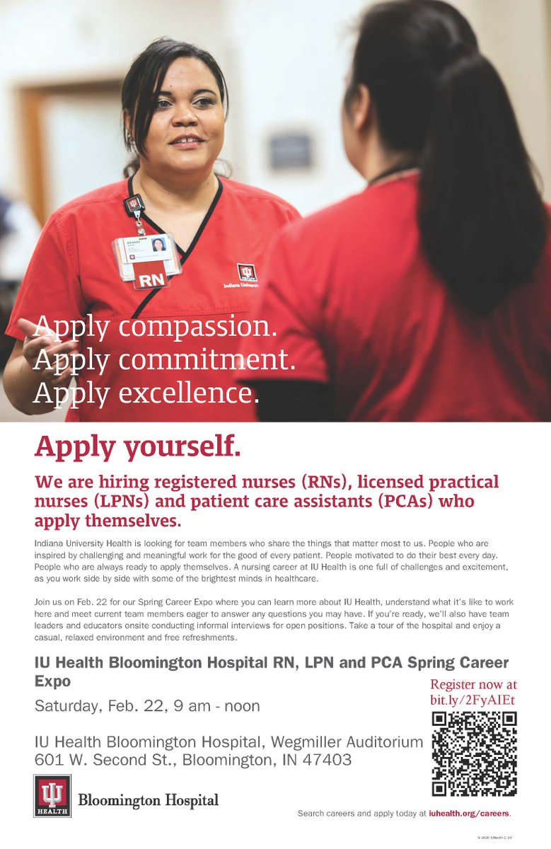 Today's the day! We will be at IU Health Bloomington Hospital's Wegmiller Auditorium from 9 am – noon looking for RNs, LPNs and PCAs to join our team! <br>http://pic.twitter.com/VoYMb1ODKh