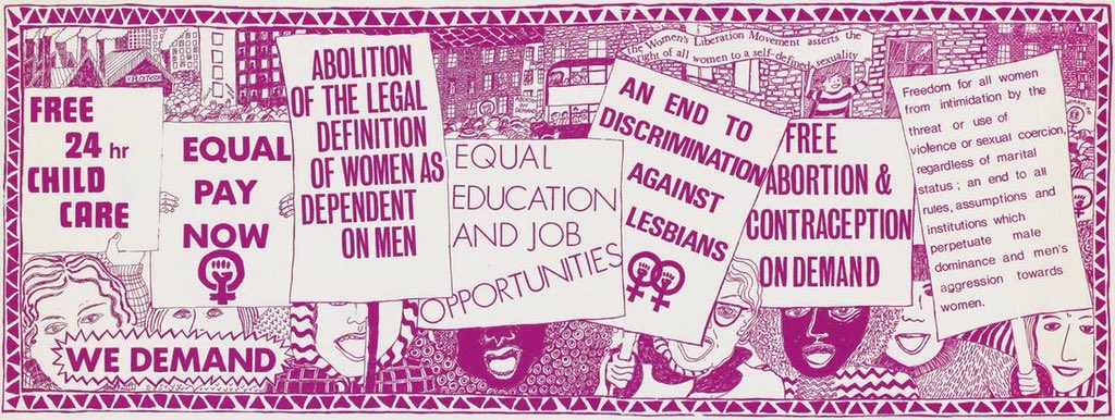 In Feb 1970, #RuskinCollege students organised the first, large-scale gathering of the #WomensLiberationMovement. The conference set in motion a re-shaping of the landscape for #women's rights & a struggle for #gender #equality that continues today. They outlined 7 key demands:pic.twitter.com/aI60bV5T7z