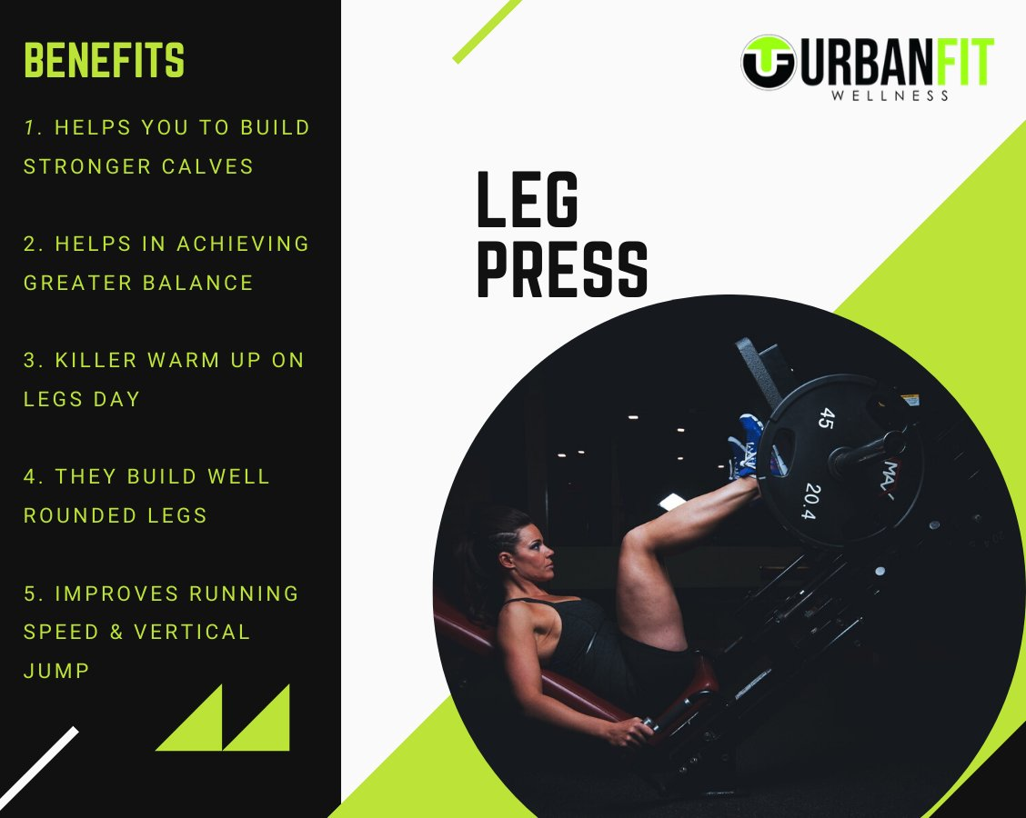 Follow  @UrbanfitA  for more fitness facts & tips.  The leg press is a great exercise machine for developing the quadriceps of the thigh and your gluteal muscles.   #chest #fitness #health #workout #gym #weightloss #diet #fit #fitfam #motivation #exercise #gymtime #musclehunk